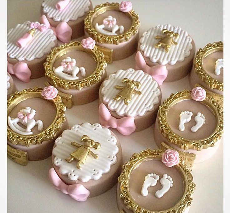 Gold and pink baby shower fondant cupcake toppers