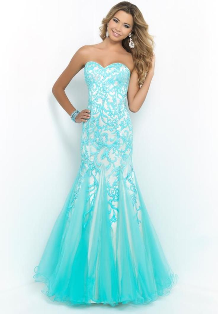 2015 Blush Mermaid Prom Dress 10013. I absolutely love this blue color!!! :)