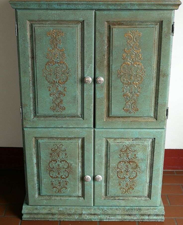 Completed Verdigris project with hand made embossed stencil