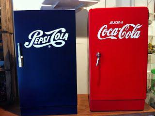 decoración vintage, antiguitats-baraturantic: nevera vintage coca cola y pepsi cola