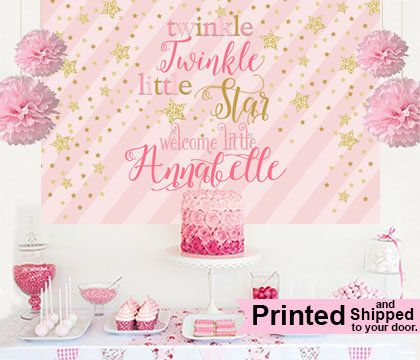 Twinkle Little Star Cake Table Backdrop- Printed Vinyl Backdrop ready to use. Don't hassle with files that you have to print. Just click and ship to your door.