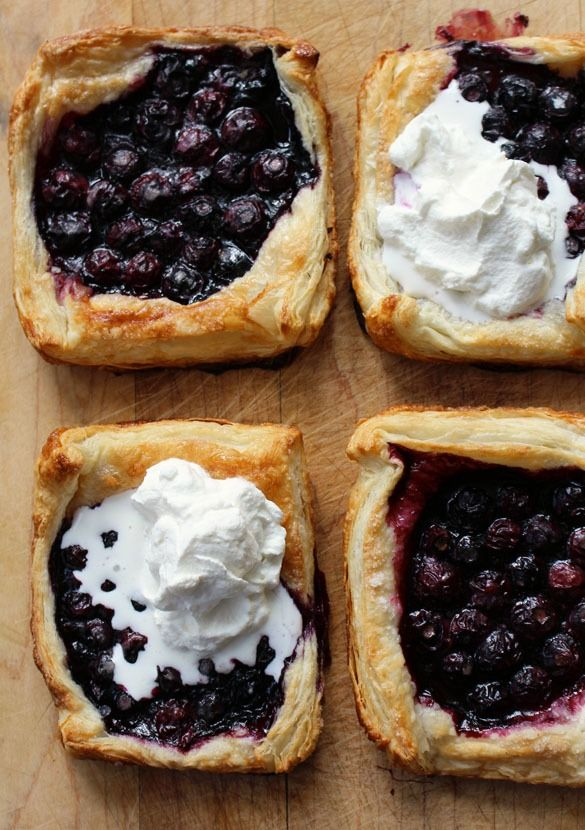 Blueberry Puff Pastry Pies   This recipe is easily doubled if you need more than four warm pies. @dinnerwithjulie