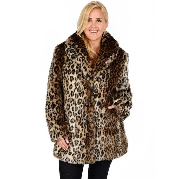 Plus Size Excelled Leopard Faux-Fur Coat ($85) ❤ liked on Polyvore featuring plus size women's fashion, plus size clothing, plus size outerwear, plus size coats, brown, plus size, animal print faux fur coat, leopard print faux fur coat, leopard print coat and leopard coat