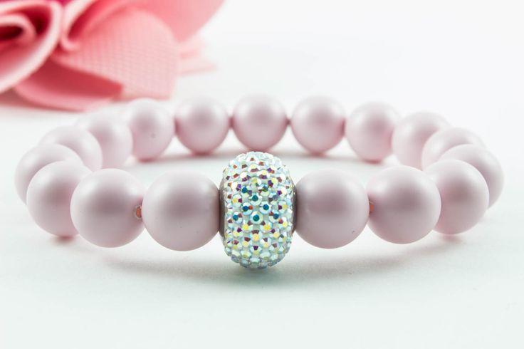 Swarovski pastel rose karkötő, kristály dísszel