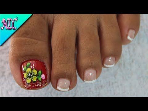 Decoración De Uñas Para Pies Mariposa Y Flores Flowers Nail Art