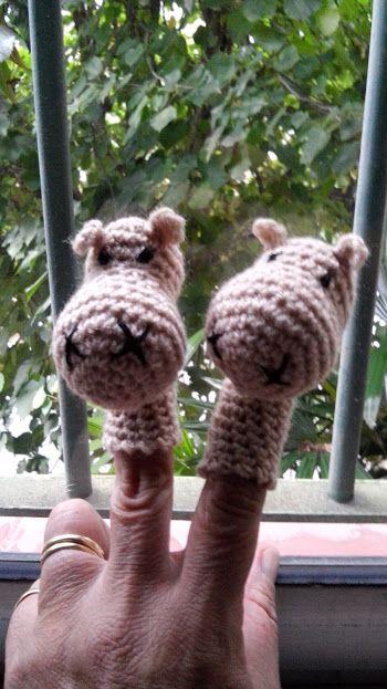 Titeres de dedo, tecnica crochet, relleno de algodon siliconado.