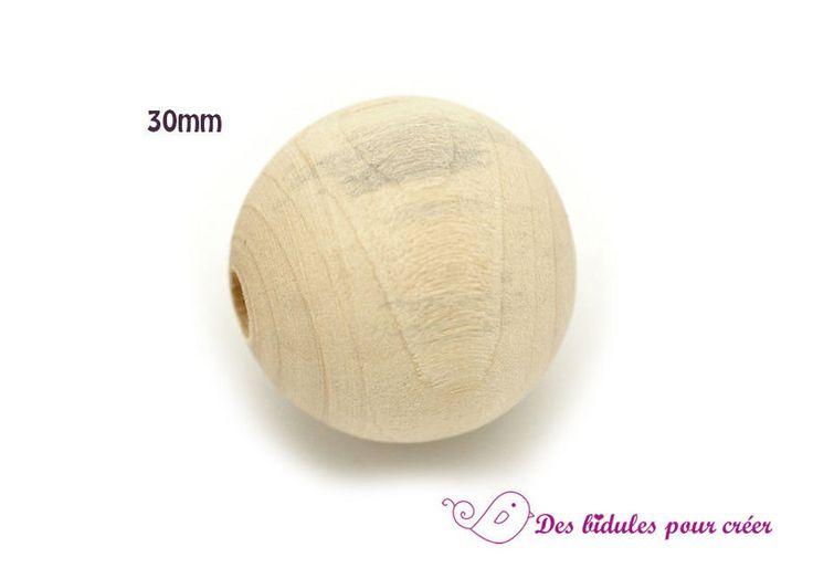 Perline in legno - Legno naturale 6 perle tonde 30 millimetri - un prodotto unico di Des-bidules-pour-creer su DaWanda