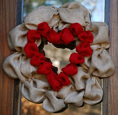 add red burlap to a wire heart wreath and attach to my already existing burlap wreath for v-day!