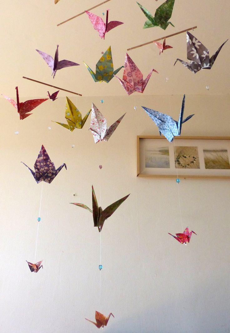 Mobile bébé Origami Grues : Jeux, peluches, doudous par lili-origami