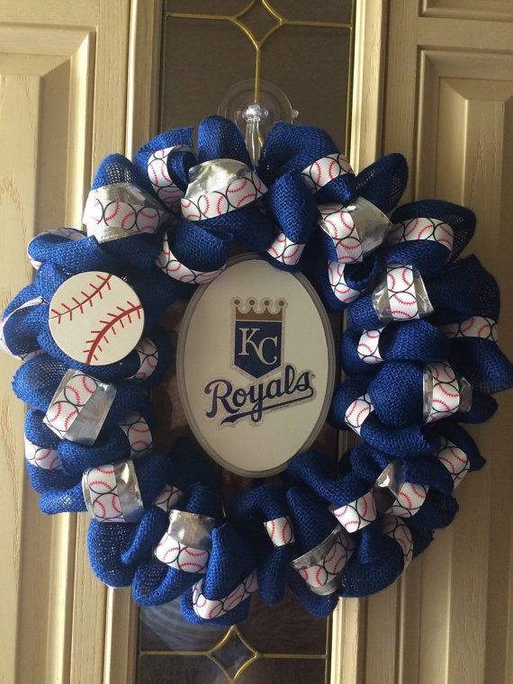 Ready to ship KC Royals wreath by Forthedoorandmore on Etsy