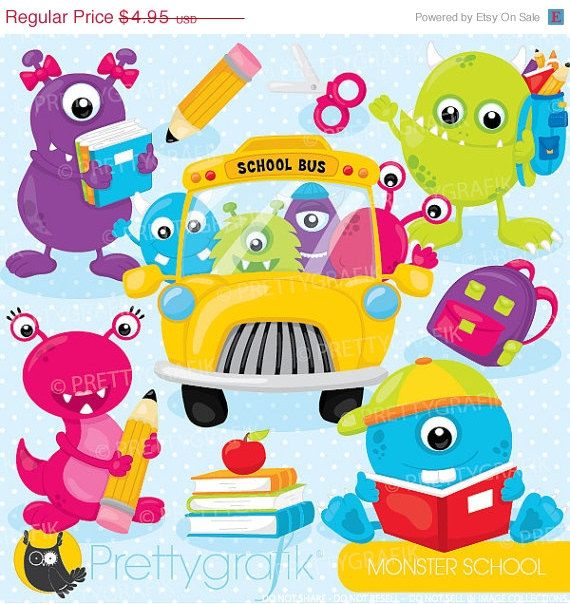 80% OFF SALE Monster school clipart clipart by Prettygrafikdesign