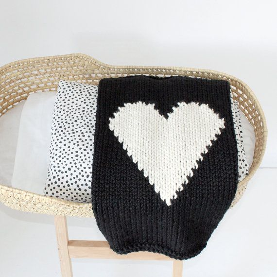 Heart Baby Blanket Black and Cream Hand Knit for by YarningMade