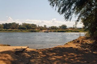 Why not?: A pontoon ferry crossing the Zambezi at Kazungula