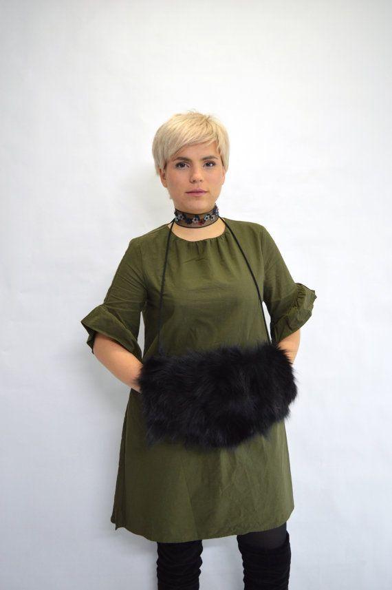 Real fur muff fox fur muff black fox fur muff with small by BeFur