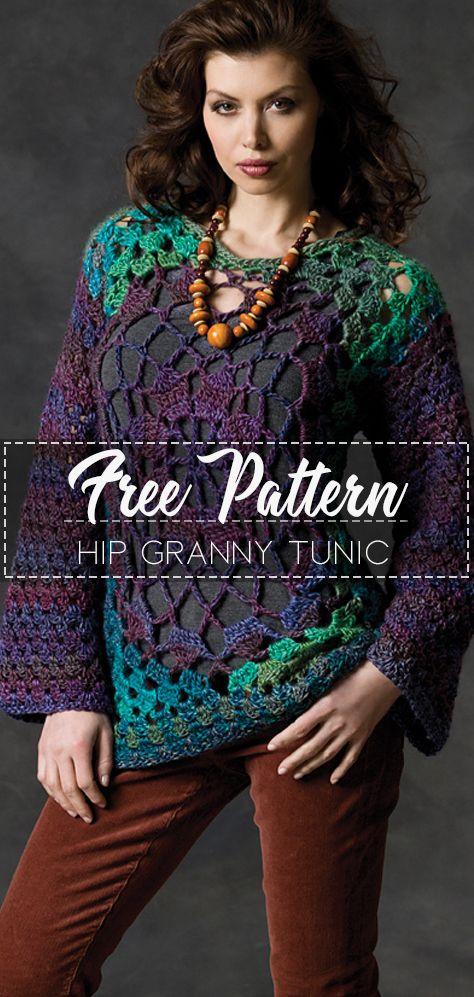 Hip Granny Tunic – Pattern Free #crochetpattern #crochet