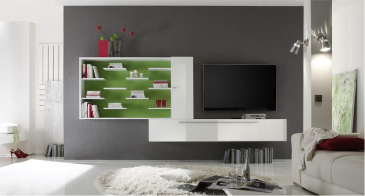 #Soggiorno design moderno laccato lucido, con elemento libreria. | Mobili soggiorno