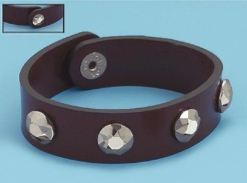 5/8 inch wide Leather Bracelet, Tungsten Carbide Studs, 8 inch long Silver Messages. $89.99