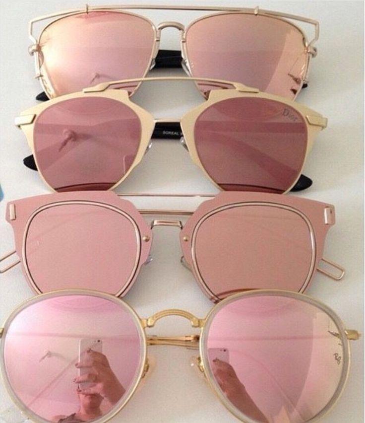 Rose-gold reflective shades.