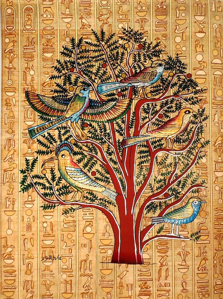 Tree of life mural ancient egyptian papyrus painting for Egyptian mural art