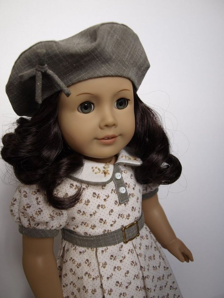 "1930s styled dress and beret for 18"" American Girl dolls--Kit Ruthie Molly Emily"