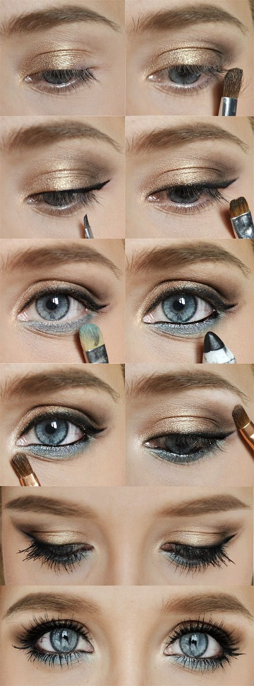 A pop of blue brings out any eye color and is the current trend. Keep everything else neutral tones.