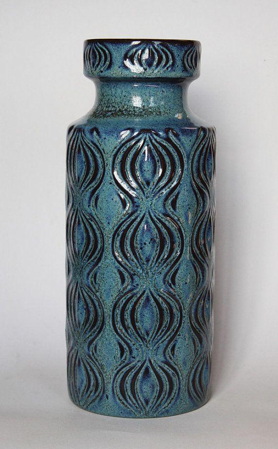 Vintage Blue Floor Vase  Scheurich 1970s