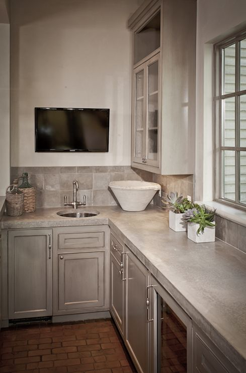Suzie: The Owen Group   Kitchen With Antique Finish Gray Kitchen Cabinets  With Concrete .