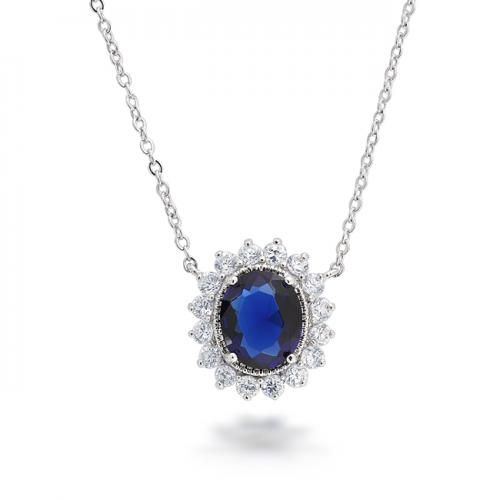 Kate Middleton Flower Crown Pendant Necklace Sapphire Color CZ 18in