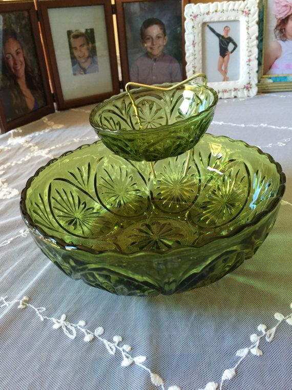 Chip and Dip Bowl Set  Green Glass  Vintage 1963 by GrammieJennie