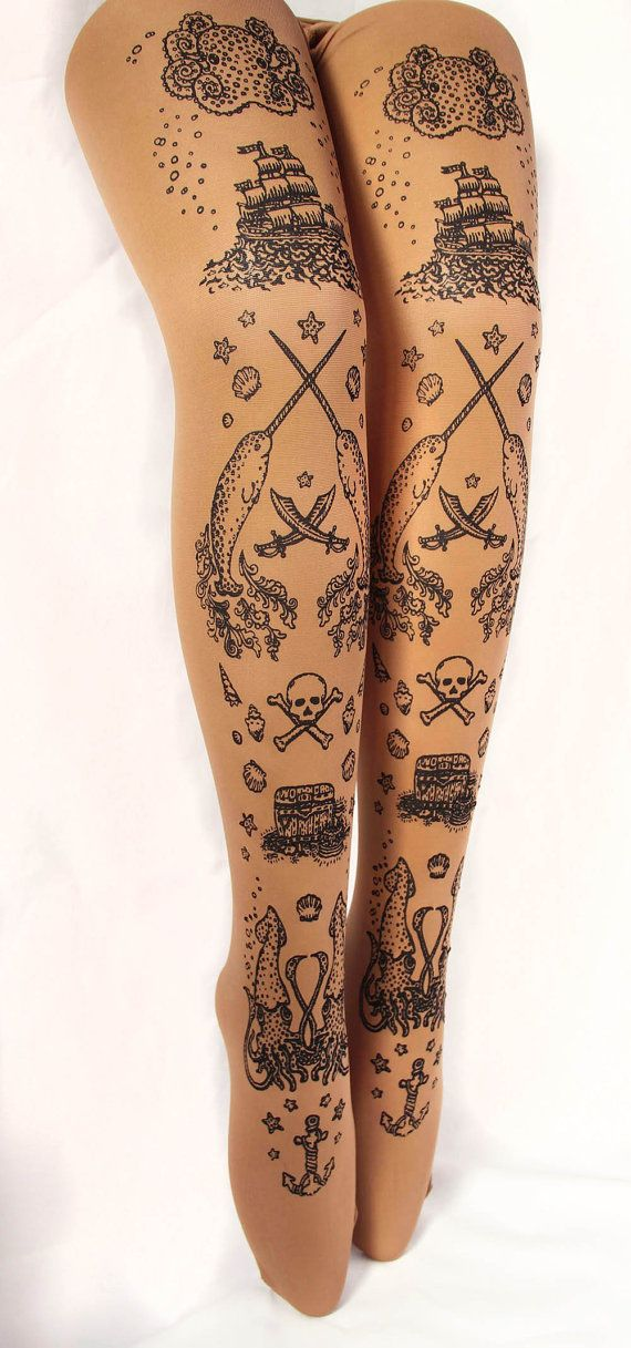 L Narwhal Tattoo Tights Large Black on Dark Tan by TejaJamilla