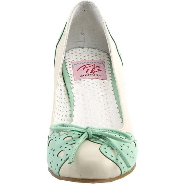 Pin Up Couture WIGGLE-17 Cuben Heel Pump Cream/Mint ($58) ❤ liked on Polyvore featuring shoes, pumps, bow pumps, mint shoes, mint pumps, faux leather shoes and synthetic leather shoes