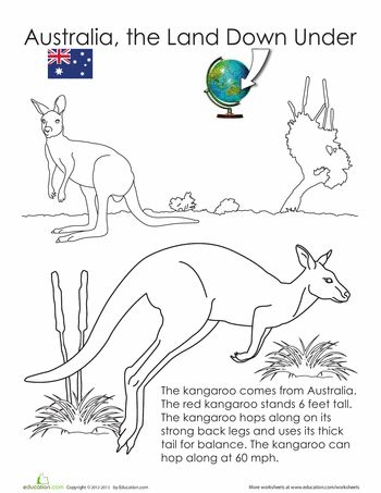 Animals of Australia, the Land Down Under. A set of 12 free printable coloring pages from Education.com