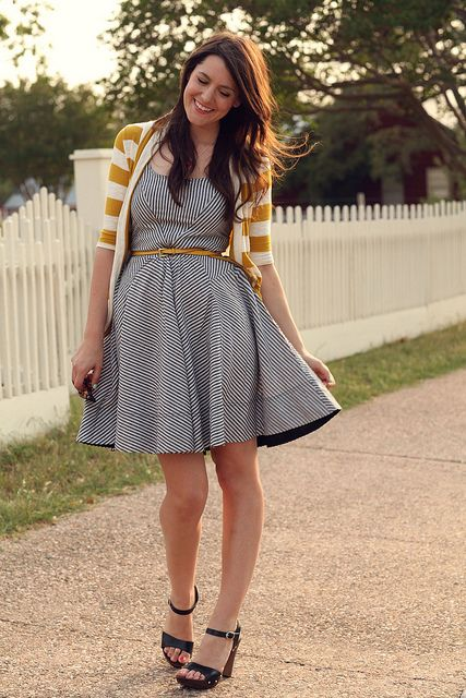 Love the mixed patterns and the belt