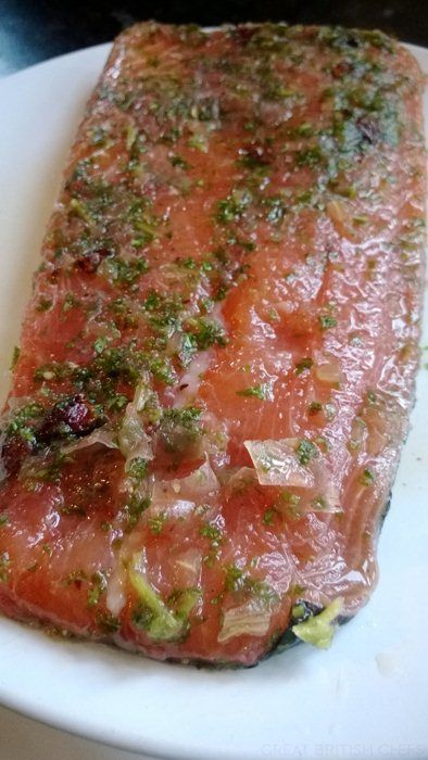 Red grapefruit, basil and star anise cured salmon - Great British ...
