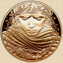 New Zealand 2003 Gold Frodo and the One Ring Coin.