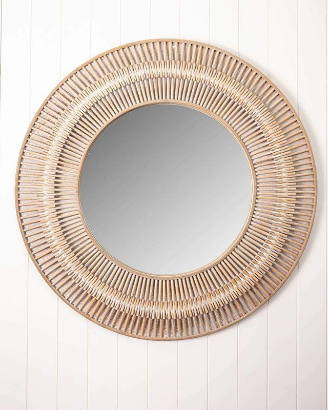 Silas Rattan Round Large Mirror Add, Large Decorative Wall Mirrors Australia
