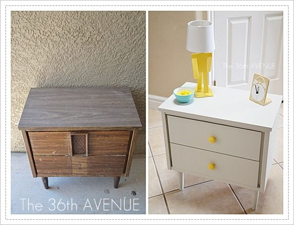 Furniture makeover. You need to see the inside of the drawers. #furniture #gray #yellow