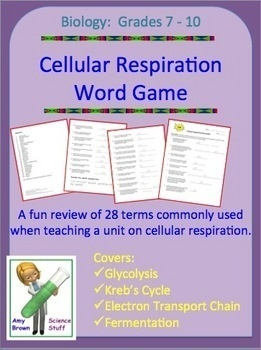Always FREE!!   There are 28 vocabulary words used in this exercise that are commonly used in a unit on cellular respiration. The vocabulary words are: pyruvic acid, protons, glucose, aerobic, matrix, adenosine triphosphate, ATP synthase, water, adenine, respiration, oxygen, lactic acid, Krebs cycle, alcoholic, phosphate, glycolysis, citric acid, NADH, electron transport chain, cristae, mitochondria, carbon dioxide, fermentation, cytoplasm, thirty eight, anaerobic, ribose, and acetate. tpt…
