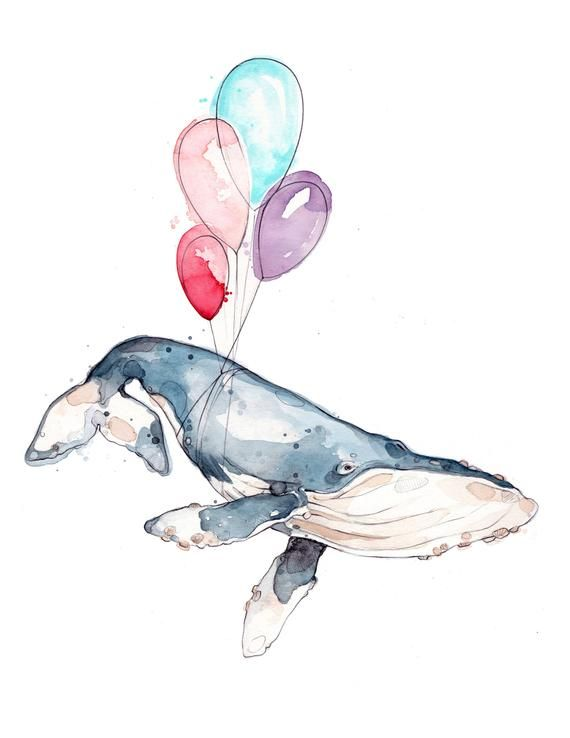 Balloons Whale | Watercolor | Print | Humpback Whale | Humorous Animal | Marine | Marie-Eve Arpin | Artwork | Marine Animal | Cute Artwork | Deco Artwork