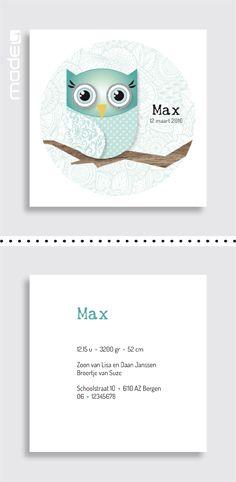 Geboortekaartjes Geboortekaartje voor een jongen met een uiltje_blauw_zwart_wit_hout_retro_patroon #www.made4.nl