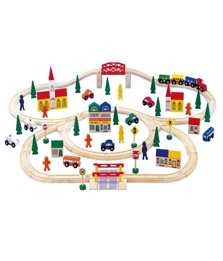 Let your kids along with friends have fun with this large wooden railway set. This railway toy set comes with 100 pieces of colorful accessories that will complete your child's imagination! With addition to the long, curvy shape of the railway, the whole set is exclusivly designed  for the toddlers who love to travel. The toy set includes trees, buildings, railway signs, vehicles, and some silhouettes of people. Kids creative mind will broaden as they explore their imagination.