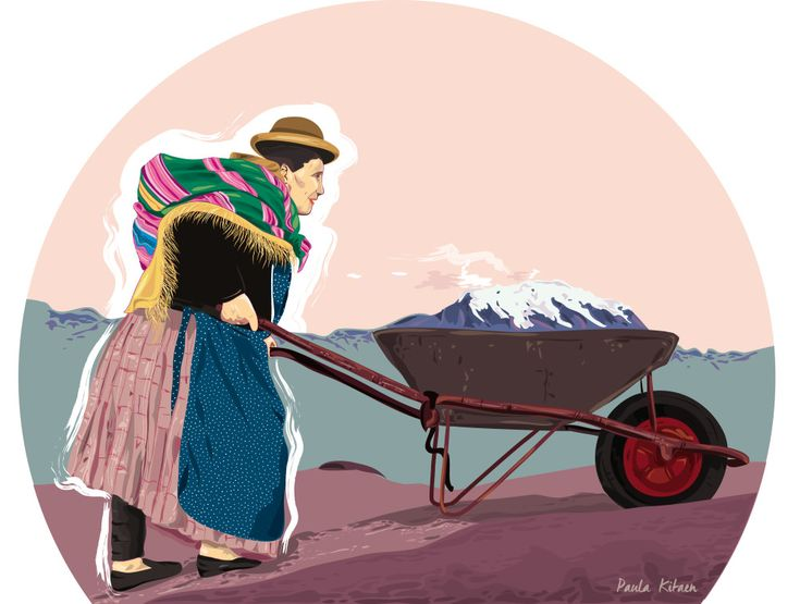 Mujer Aymara que Trabaja en Los Andes