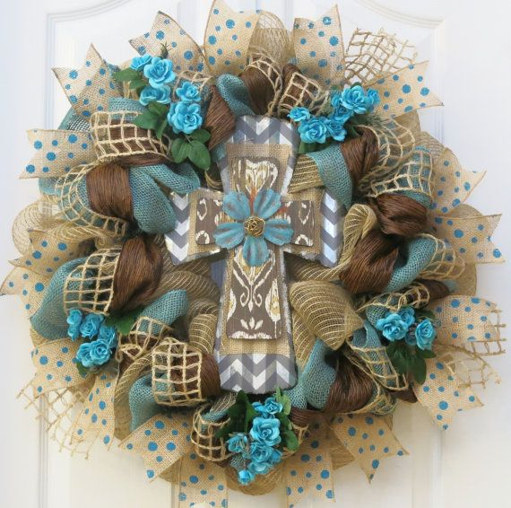 Hey, I found this really awesome Etsy listing at https://www.etsy.com/listing/218739519/cross-wreath-teal-and-burlap-cross
