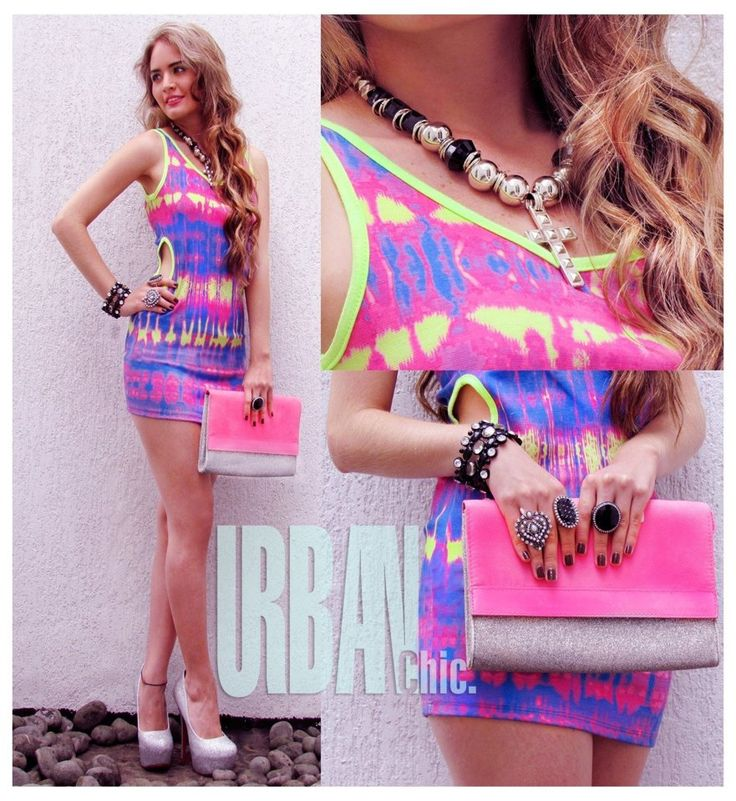 pink collage neon party dress