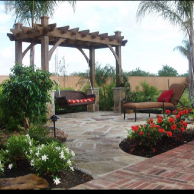 Aesthetic Outdoor Patio Pergola Swing With Red Throw Pillows And Outdoor  Chaise Chair Cushions In Brown Colour Above Wrought Iron Lounge Chairs of  Patio ... - 17 Best Ideas About Pergola Swing On Pinterest Swings, Kids