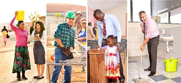 Uma irmã pregando; um irmão trabalhando na construção; uma criança colocando dinheiro na caixa de contribuição; um irmão limpando o chão do banheiro