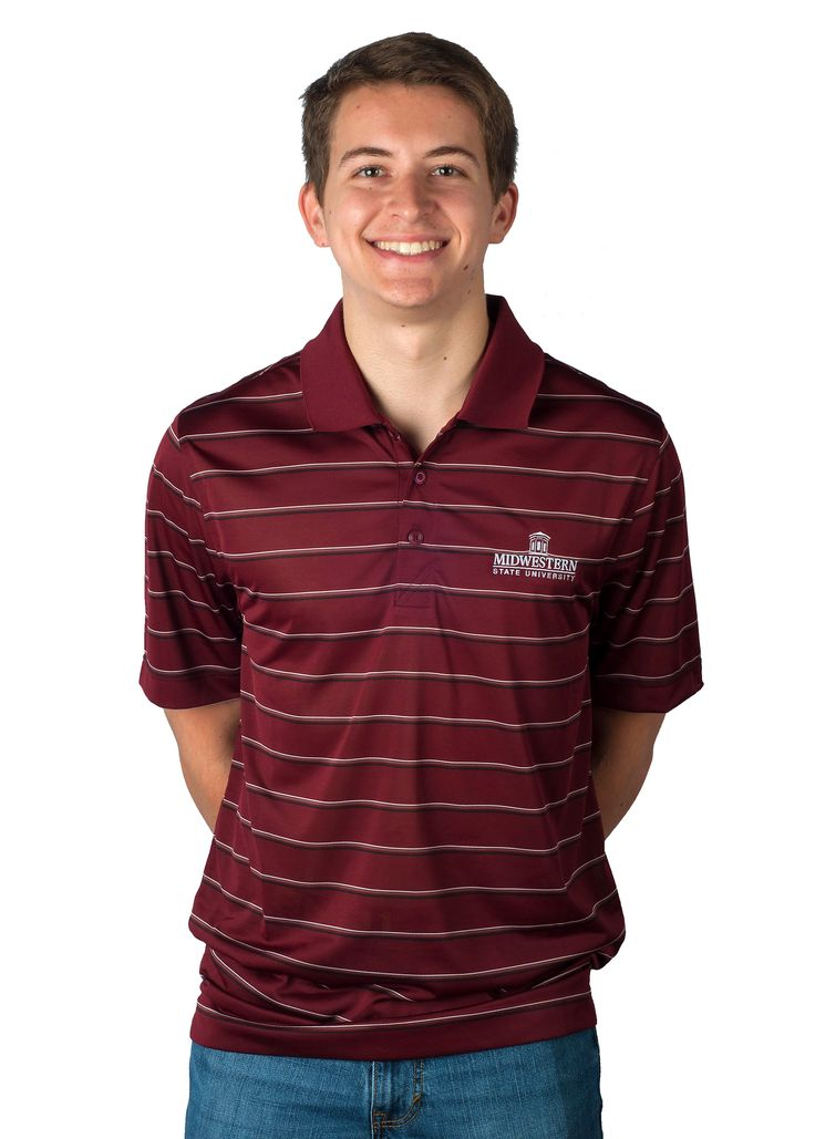 Midwestern State University embroidered logo Maroon polo in the MSU Bookstore in Wichita Falls, Texas.