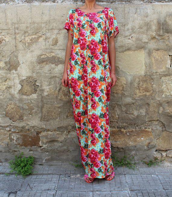 Floral caftan dress  maxi dress  kaftan  by cherryblossomsdress