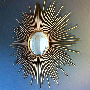 Gold Sunburst Wall Mirror - retro living room