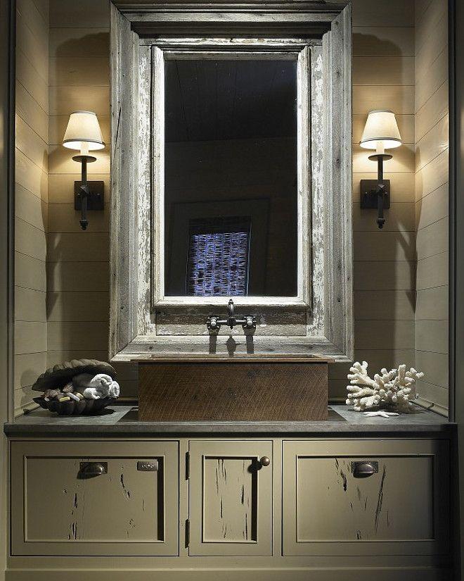 Rustic bathroom with shiplap walls and custom gray vanity for Gray rustic bathroom